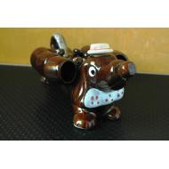 service a liqueur en barbotine forme de chien teckel vintage