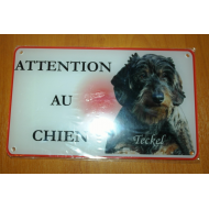 PLAQUE ATTENTION AU CHIEN TECKEL POIL DUR 1
