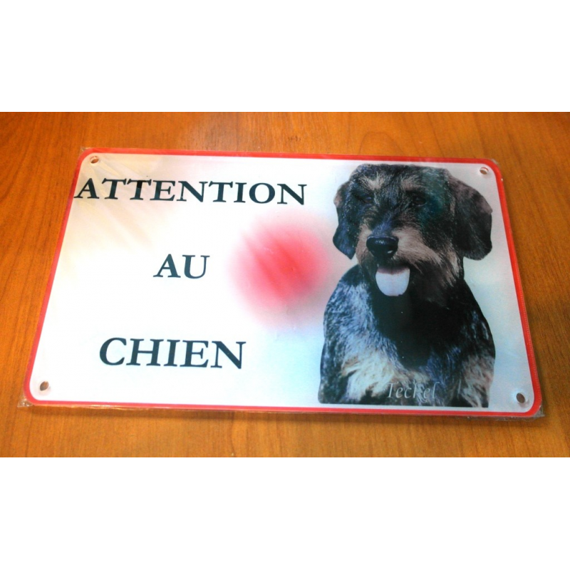plaque attention au chien teckel poil dur 2 univers teckel. Black Bedroom Furniture Sets. Home Design Ideas