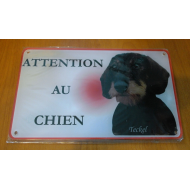 PLAQUE ATTENTION AU CHIEN TECKEL POIL DUR 3