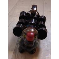 service à liqueur en barbotine forme de chien teckel vintage