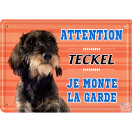 PLAQUE D'AVERTISSEMENT ATTENTION TECKEL