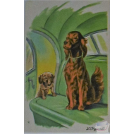 CPA Photochrom Illustrateur signée - L'orgueil Chiens setter et teckel ,dachshund,dackel,bassotto