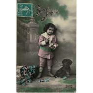CARTE POSTALE ANCIENNE BONNE ANNEE 1911 AVEC TECKEL