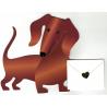 CARTE TECKEL FANTAISIE avec enveloppe rouge
